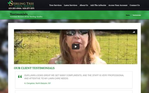 Screenshot of Testimonials Page sterlingtree.com - Testimonials - Sterling Tree & Lawn - captured Dec. 13, 2016