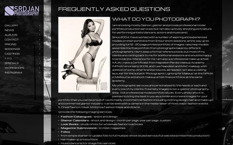 Screenshot of FAQ Page srdjan.com.au - Frequently Asked Questions - Srdjan Photography - captured Sept. 25, 2015