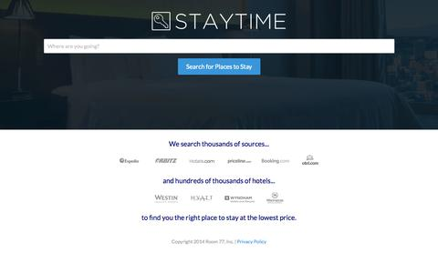 Screenshot of Home Page staytime.com - Staytime Hotel Search - captured Oct. 7, 2014