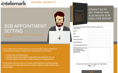 Screenshot of Landing Page intelemark.com - B2B Appointment Setting - Intelemark - captured Oct. 30, 2016