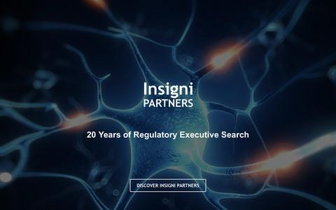 Screenshot of Home Page insignipartners.com - Insigni Partners | Regulatory Affairs Executive Recruiting - Home - captured Aug. 6, 2016
