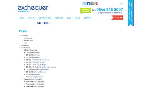 Screenshot of Site Map Page exchequersolutions.co.uk - Site Map | Exchequer Solutions Ltd - captured Oct. 28, 2014