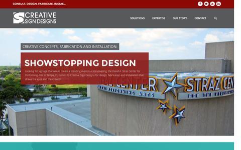 Screenshot of Home Page creativesigndesigns.com - Creative Sign Designs | Consult. Design. Fabricate. Install. - captured Aug. 10, 2016