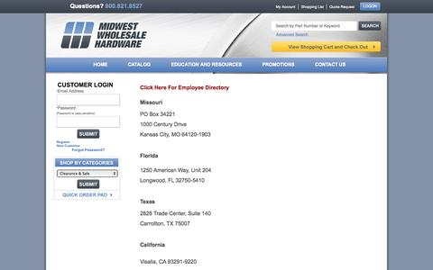 Screenshot of Locations Page midwestwholesale.com - Midwest Wholesale Hardware - captured Oct. 27, 2014