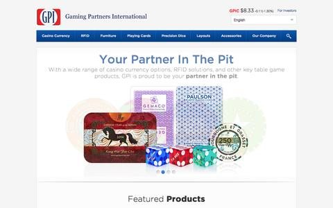 Screenshot of Home Page gpigaming.com - Gaming Partners International Home Page - captured Oct. 2, 2014