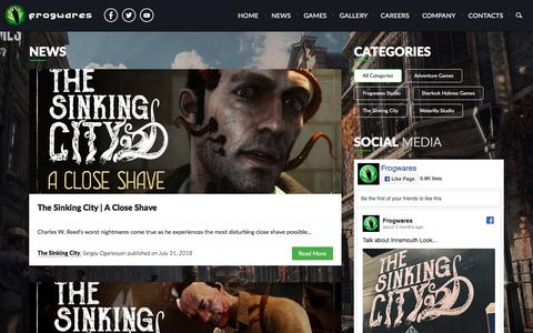 Screenshot of Press Page frogwares.com - Latest News about The Sinking City and other games! - captured Aug. 30, 2018
