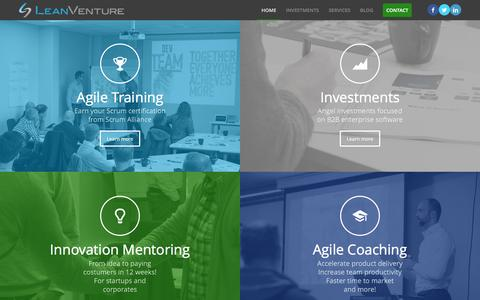 Screenshot of Home Page leanventure.com - Lean Venture AS – A Network of business angels,  innovation mentors and agile consultants - captured May 11, 2017