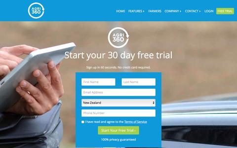 Screenshot of Trial Page agrimap.com - Agri360 Free Trial | New Zealand Farm Management Software - captured Dec. 28, 2015