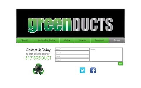 Screenshot of Contact Page greenducts.org - contact - captured Nov. 4, 2018