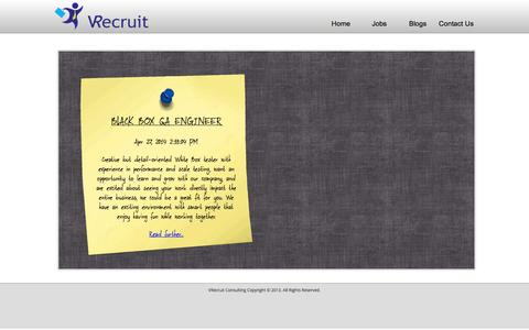 Screenshot of Jobs Page vrecruit.in - VRecruit Consulting - captured Oct. 7, 2014