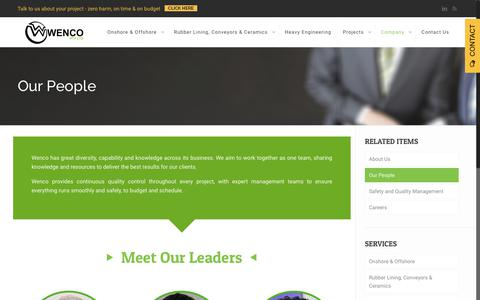 Screenshot of Team Page wenco.com.au - Engineers Australia   Wenco - captured Nov. 15, 2018