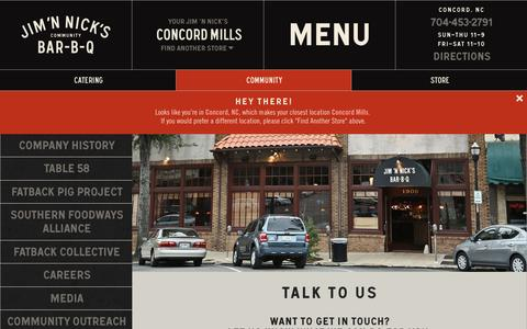 Screenshot of Contact Page jimnnicks.com - Contact | Jim 'N Nick's - captured Dec. 1, 2015