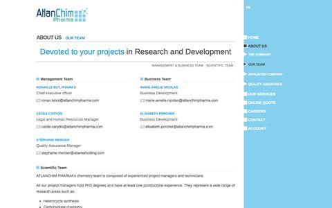 Screenshot of Team Page atlanchimpharma.com - Our team - captured Sept. 30, 2014