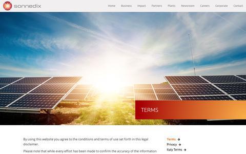 Screenshot of Terms Page sonnedix.com - Terms – SONNEDIX - captured July 13, 2018
