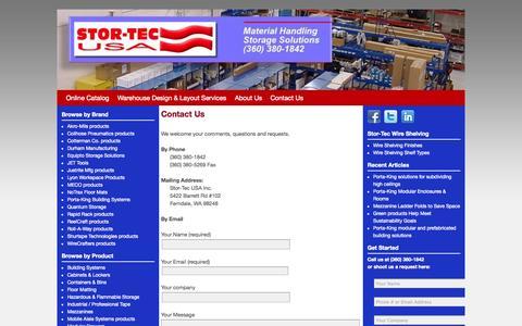 Screenshot of Contact Page stor-tec.com - Contact Us - Stor-Tec USA, Inc. - captured Oct. 7, 2014