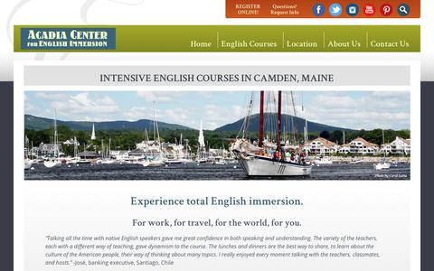 Screenshot of Home Page acadiaenglish.com - Intensive English Language Courses for Adults, Professionals, Executives: Acadia Center for English Immersion – Camden, Maine, USA - captured Oct. 2, 2018