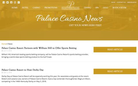 Screenshot of Press Page palacecasinoresort.com - News Archive | Palace Casino Resort - captured July 15, 2018