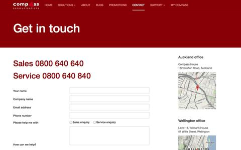 Screenshot of Contact Page compassbusiness.co.nz - Contact Compass Communications' specialist business team - captured Oct. 2, 2014