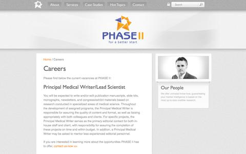 Screenshot of Jobs Page phase-ii.com - PHASE II - The full service medical marketing specialists - Careers - captured Sept. 29, 2014
