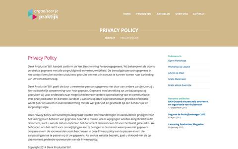 Screenshot of Privacy Page organiseerjepraktijk.nl - Privacy Policy - Organiseer je Praktijk - captured June 13, 2017
