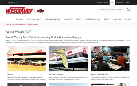 Screenshot of About Page wescoturf.com - Toro Distributor Florida & Southern Georgia - Wesco Turf - captured June 10, 2017
