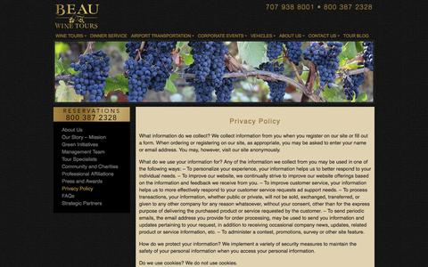 Screenshot of Privacy Page beauwinetours.com - Privacy Policy - Beau Wine Tours & Limousine Service - captured Aug. 28, 2016