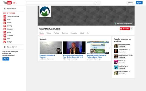 Screenshot of YouTube Page youtube.com - www.MartJack.com  - YouTube - captured Oct. 22, 2014