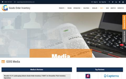 Screenshot of Press Page goodsorderinventory.com - Media & Reviews | GOIS | Inventory Management Software - captured Oct. 14, 2017