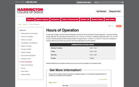 Screenshot of Hours Page harrington.edu - Harrington College of Design | Hours of Operation - captured Oct. 2, 2014