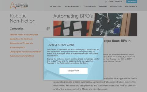 Screenshot of Blog automationanywhere.com - Automating BPO's - captured May 6, 2018
