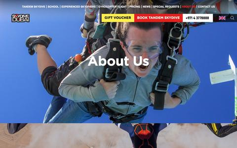 Screenshot of About Page skydivedubai.ae - About Us | Skydive Dubai - captured Aug. 12, 2019