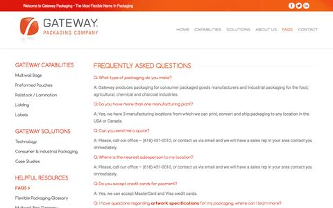 Screenshot of FAQ Page gatewaypackaging.com - FAQS – Gateway Packaging - captured Jan. 26, 2016