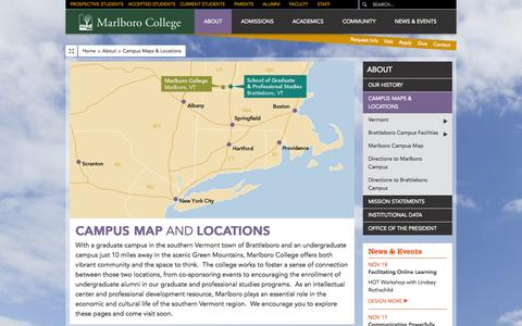Screenshot of Maps & Directions Page marlboro.edu - Campus Maps & Locations | Marlboro College - captured Oct. 27, 2014