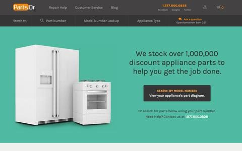 Screenshot of Home Page partsdr.com - Discount Appliance Parts & Accessories from Parts Dr - captured Sept. 18, 2014