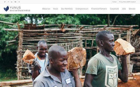 Screenshot of FAQ Page yunussb.com - FAQ | Yunus Social Business - captured Sept. 22, 2018