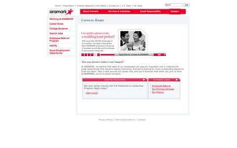 Screenshot of Jobs Page aramark.com - Careers | Aramark - captured Sept. 30, 2014