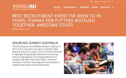 Screenshot of About Page sosu.com.au - Sourcing Summit Australia     About - captured Feb. 15, 2016