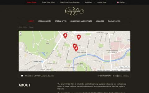 Screenshot of About Page union-hotels.eu - Union Hotels Ljubljana » Union Hotels - captured Oct. 27, 2014