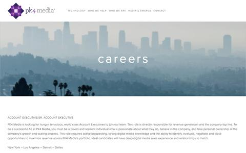 Screenshot of Jobs Page pk4media.com - Careers — PK4 Media - captured March 8, 2019