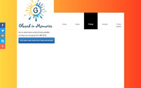 Screenshot of Pricing Page glazedinmemories.com - Pricing - captured May 18, 2017