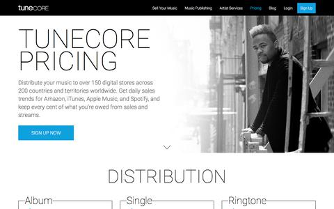 Screenshot of Pricing Page tunecore.com - TuneCore Pricing | Music Distribution & Publishing - captured May 6, 2018