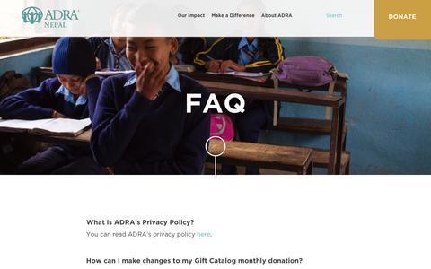 Screenshot of FAQ Page adranepal.org - FAQ - ADRA Nepal - captured Feb. 5, 2016