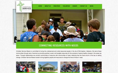 Screenshot of Home Page csmission.org - Home - captured Jan. 28, 2016