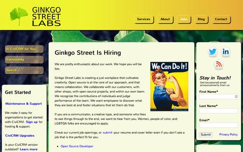 Screenshot of Jobs Page ginkgostreet.com - Ginkgo Street Is Hiring | Ginkgo Street Labs - captured Jan. 29, 2016