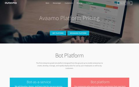 Screenshot of Pricing Page avaamo.com - Platform Pricing - Chatbot Platform - Secure Messaging - captured May 31, 2017