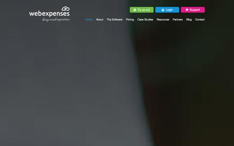 Screenshot of Home Page webexpenses.com - webexpenses · Business expenses management software - captured Sept. 22, 2014