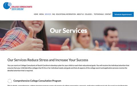 Screenshot of Services Page collegeconsultantsc.com - Our Services | College-Consultants - captured Sept. 29, 2018