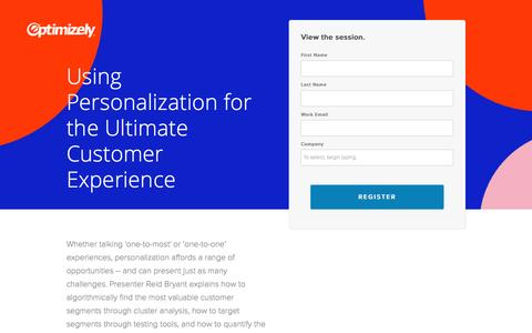 Screenshot of Landing Page optimizely.com - Using Personalization for the Ultimate Customer Experience - captured April 29, 2017