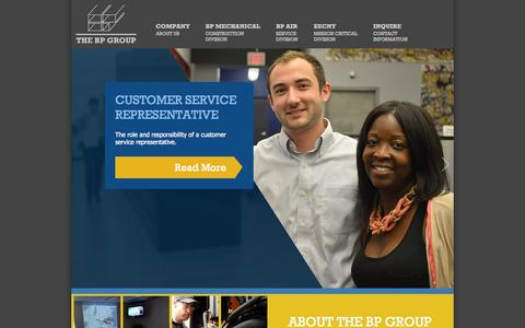 Screenshot of Home Page bpgroup.com - The BP Group - HVAC Mission Critical Design Build - captured Oct. 4, 2014