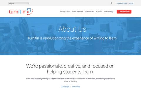 Screenshot of About Page turnitin.com - Turnitin  - Company - captured Oct. 22, 2015
